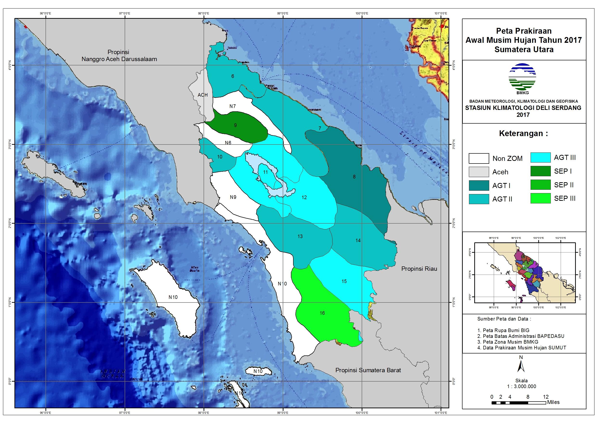 Peta Prakiraan Awal Musim Hujan tahun 2017 di Sumatera Utara